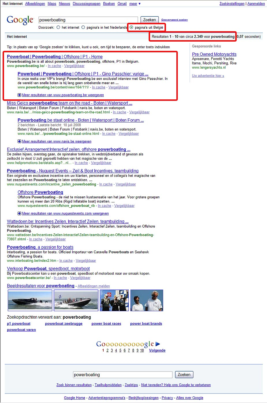 powerboating in Google - België - 1 november 2009