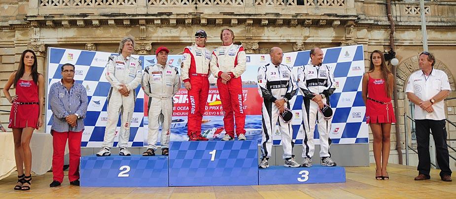 Evo podium round 4 2011 - 1: Lucas Oil SOC - 2: Cranefields Wine - 3: Furnibo - credit: Karel Overlaet